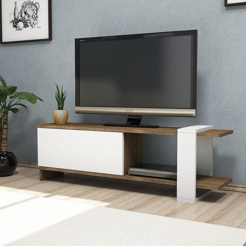 Έπιπλο τηλεόρασης Cave pakoworld χρώμα καρυδί-λευκό 120x25x37εκ