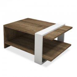 Τραπέζι σαλονιού Cave pakoworld χρώμα καρυδί-λευκό 80x50x35εκ