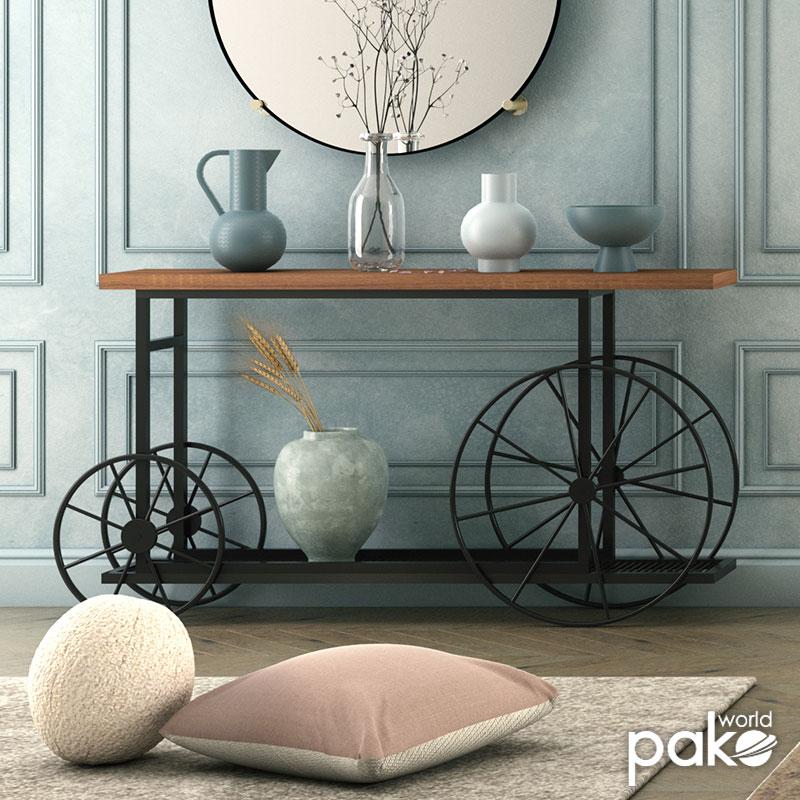 Κονσόλα Bike pakoworld χρώμα μαύρο-καρυδί 148x28x85εκ