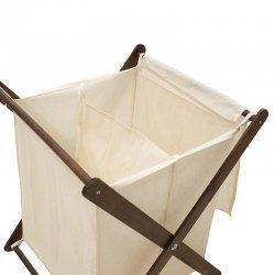 Καλάθι απλύτων Lumin pakoworld 80L χρώμα λευκό-καρυδί 45x35x70εκ