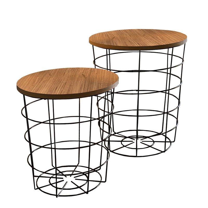 Βοηθητικά τραπέζια σαλονιού Laert pakoworld σετ 2 τεμ oak-μαύρο Φ45x54εκ