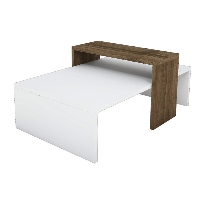 Τραπέζι σαλονιού Glow pakoworld χρώμα καρυδί-λευκό 80x50x32εκ
