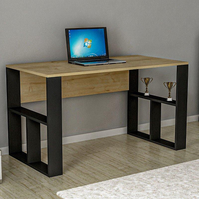 Γραφείο Darcel pakoworld χρώμα φυσικό-μαύρο 120x60x74εκ