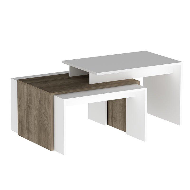 Πολυμορφικό τραπέζι σαλονιού Eady pakoworld χρώμα καρυδί-λευκό 105x60x52εκ