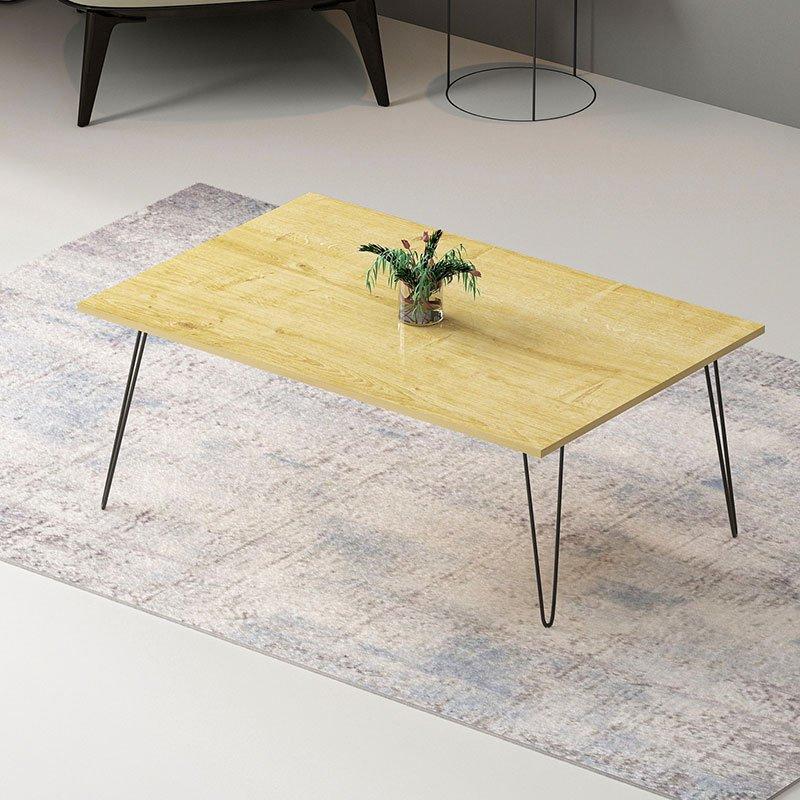 Τραπέζι σαλονιού Esca pakoworld χρώμα φυσικό-μαύρο 90x50x40,5εκ