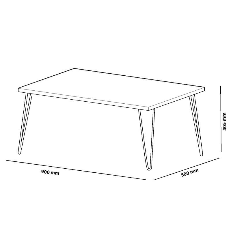 Τραπέζι σαλονιού Esca pakoworld χρώμα καρυδί-μαύρο 90x50x40,5εκ