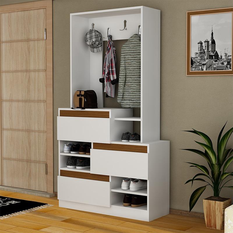 Έπιπλο εισόδου Πορτ-Μαντώ Uben pakoworld χρώμα λευκό-καρυδί 99x37x180εκ