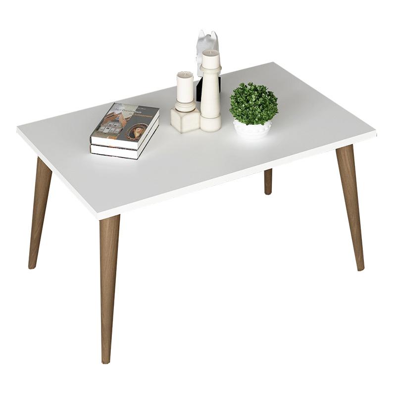 Τραπέζι σαλονιού Felin pakoworld χρώμα λευκό-καφέ 70x42x39εκ