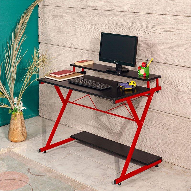 Γραφείο Turin pakoworld χρώμα μαύρο-κόκκινο 100x45x75εκ
