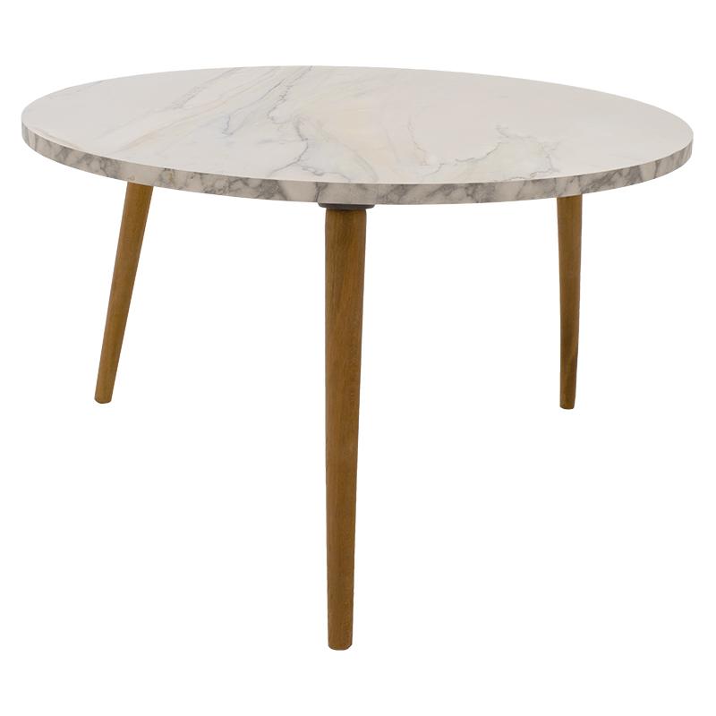 Τραπέζι σαλονιού Wally pakoworld λευκό-καφέ Φ73x40εκ