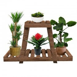 Ραφιέρα-σταντ φυτών Tisa pakoworld ξύλο καφέ 75x25x49εκ