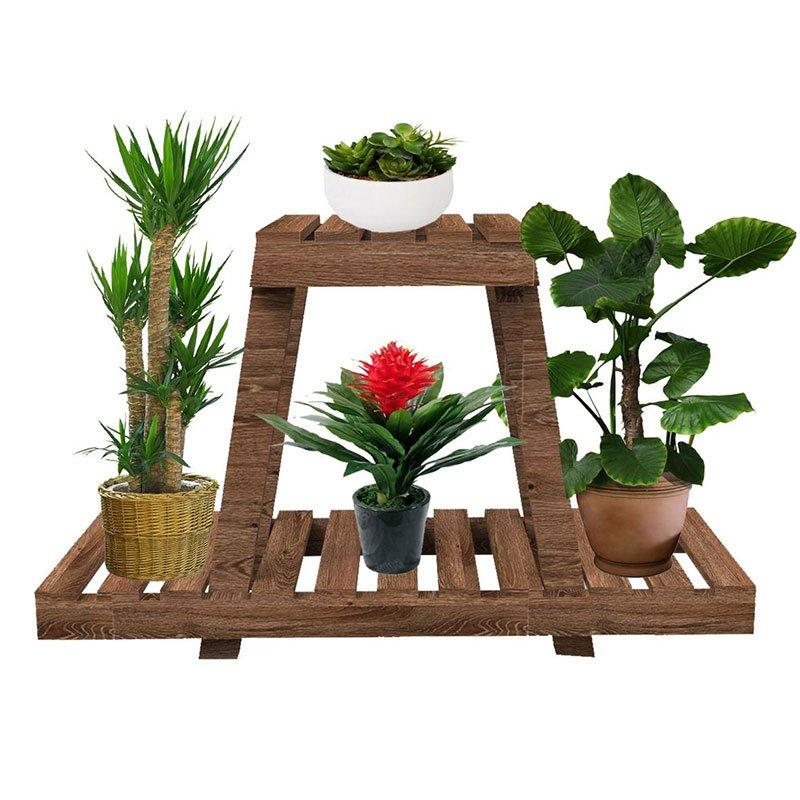 Ραφιέρα-στάντ φυτών Tisa pakoworld ξύλο καφέ 75x25x49εκ