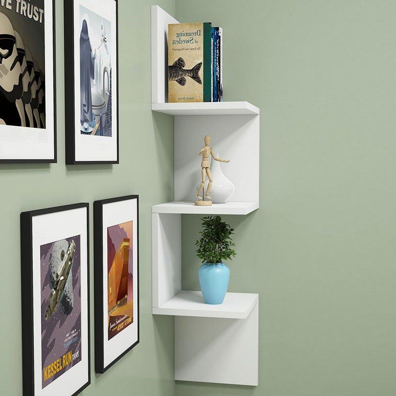Ραφιέρα γωνιακή τοίχου Insta pakoworld λευκό 29x16x105,5εκ
