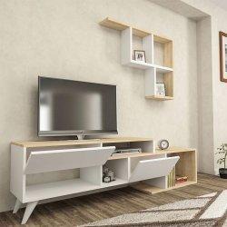 Σύνθετο τηλεόρασης Dallas pakoworld χρώμα λευκό-φυσικό 135x31,5x51,5εκ
