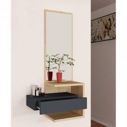 Κονσόλα-τουαλέτα Sabine pakoworld με καθρέπτη ανθρακί-φυσικό 40x31.5x90εκ