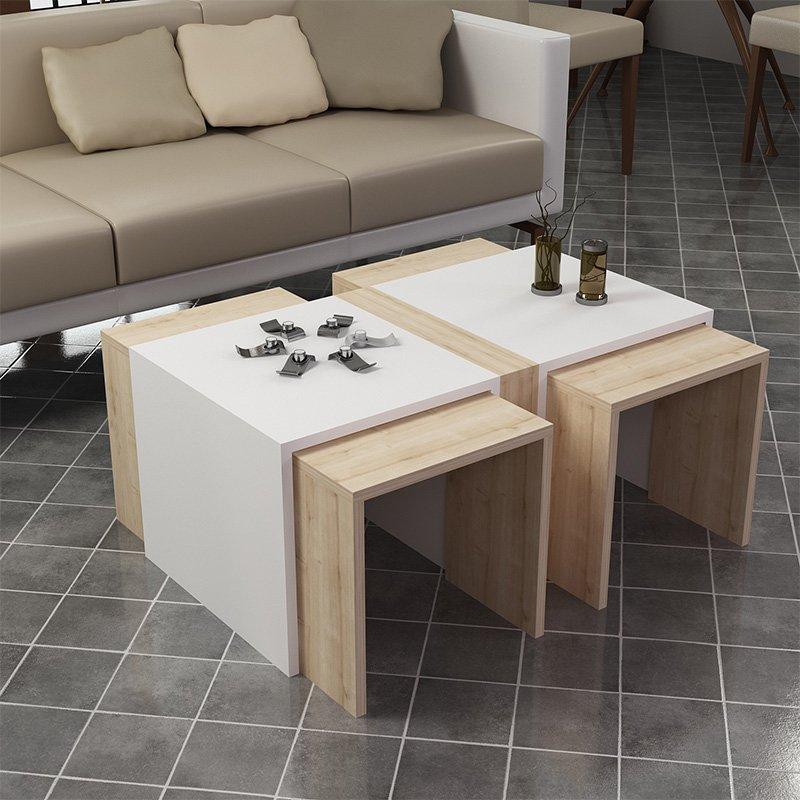 Τραπέζι σαλονιού Selby pakoworld λευκό-oak 90x50x42εκ