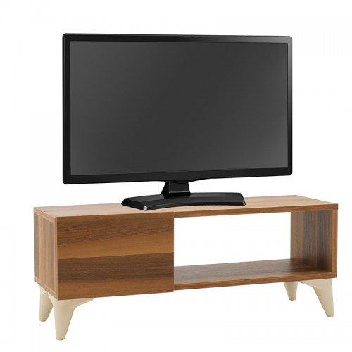 Έπιπλο τηλεόρασης Sensia pakoworld καρυδί-λευκό 90x32x36εκ
