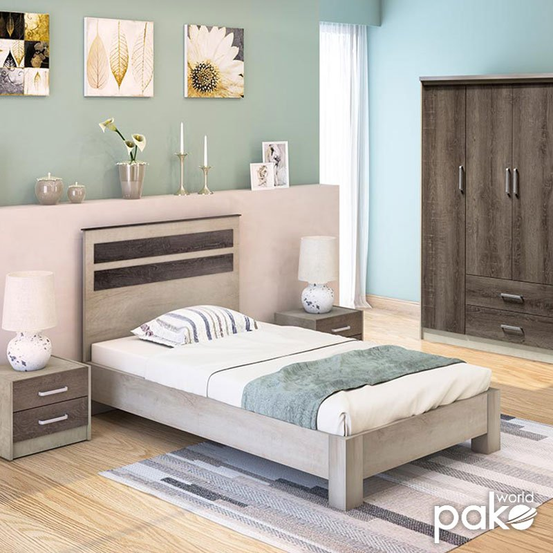 Κρεβάτι μονό OLYMPUS pakoworld σε χρώμα castillo-toro 100x200εκ