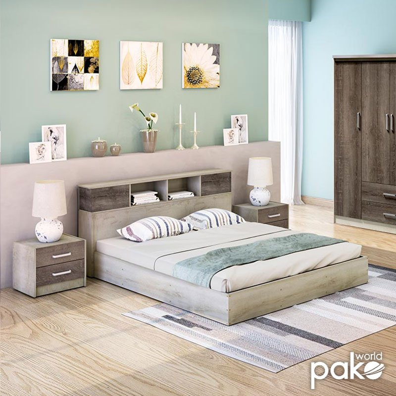 Κρεβάτι διπλό OLYMPUS pakoworld σε χρώμα castillo-toro 160x200εκ