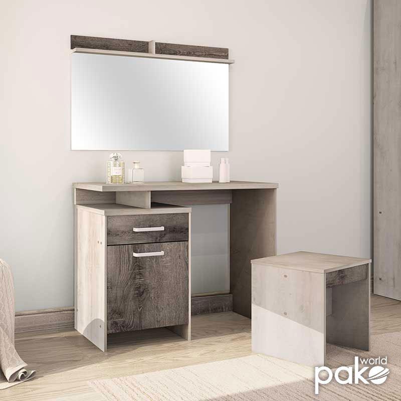 Κονσόλα OLYMPUS pakoworld με καθρέπτη και σκαμπό χρώμα castillo-toro