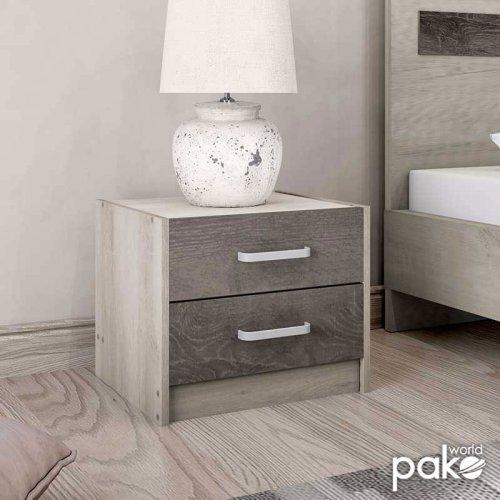 Κομοδίνο OLYMPUS pakoworld με 2 συρτάρια χρώμα castillo-toro 47,5x40,5x40,5εκ