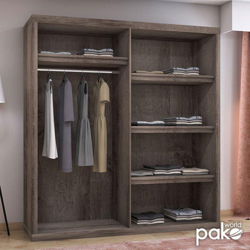 Ντουλάπα ρούχων δίφυλλη συρόμενη OLYMPUS pakoworld  χρώμα castillo-toro 204x63x219εκ