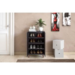 Παπουτσοθήκη-ντουλάπι SANTO pakoworld 10 ζεύγων χρώμα wenge 60x34,5x91,5εκ