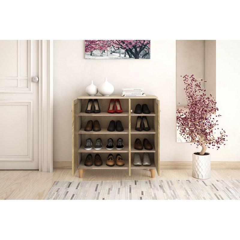 Παπουτσοθήκη-ντουλάπι SANTO pakoworld 16  ζεύγων χρώμα sonoma 89,5x34,5x91,5εκ