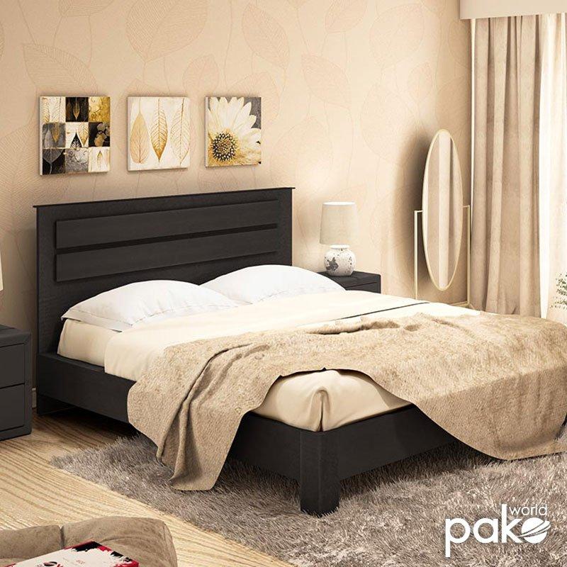 Κρεβάτι διπλό OLYMPUS pakoworld σε χρώμα wenge 160x200εκ