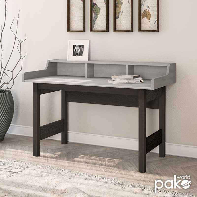 Γραφείο εργασίας Bonito pakoworld χρώμα white wash - wenge emboss 124x60,5x88εκ
