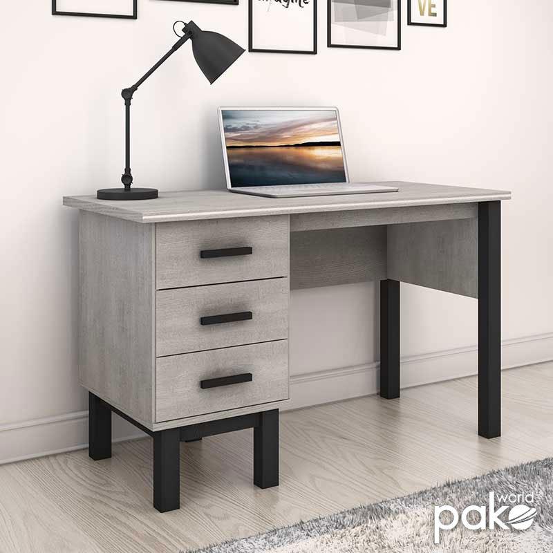 Γραφείο εργασίας Bonito pakoworld με συρτάρια χρώμα white wash-ebony 121x60x75εκ