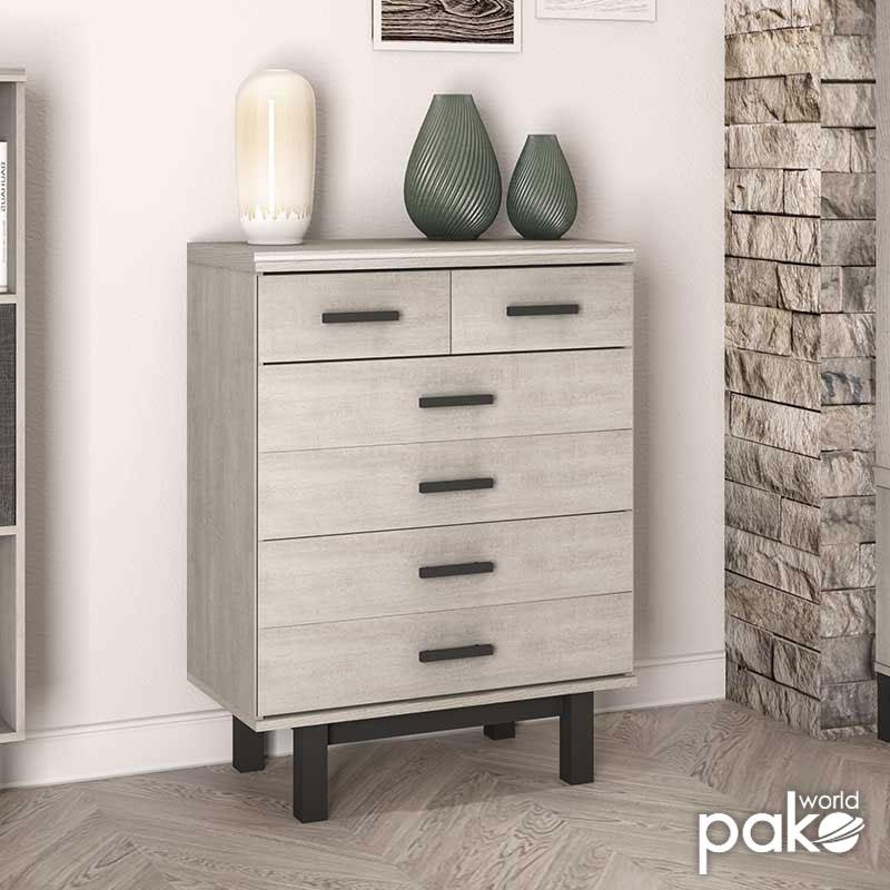 Συρταριέρα Bonito pakoworld χρώμα white wash-ebony 80,5x42x110εκ