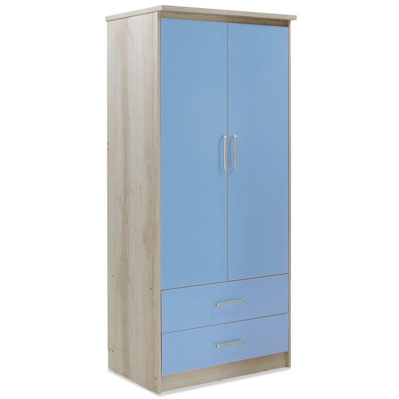 Ντουλάπα ρούχων παιδική δίφυλλη Looney pakoworld χρώμα castillo-μπλε 81x57x183εκ
