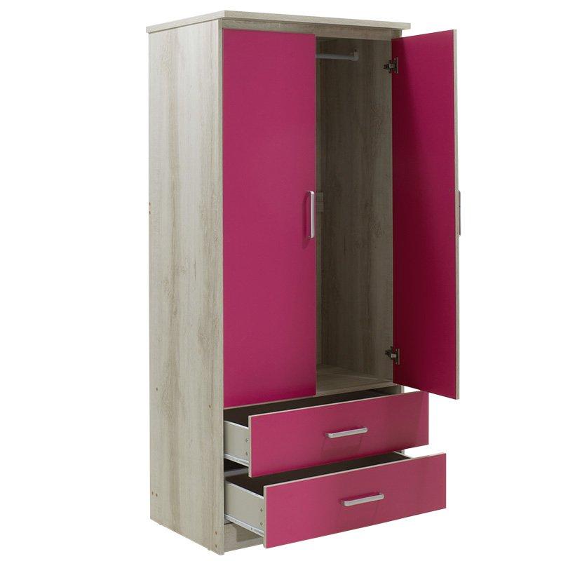 Ντουλάπα ρούχων παιδική δίφυλλη Looney pakoworld χρώμα castillo-ροζ 81x57x183εκ