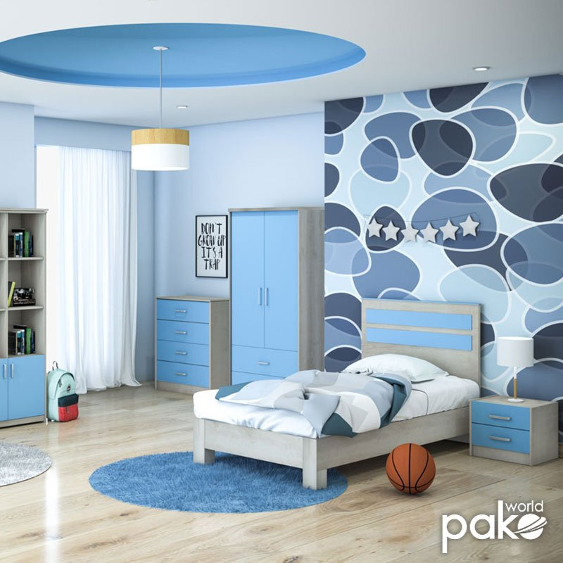 Συρταριέρα παιδική Looney pakoworld με 4 συρτάρια χρώμα castillo-μπλε 80x40x95εκ