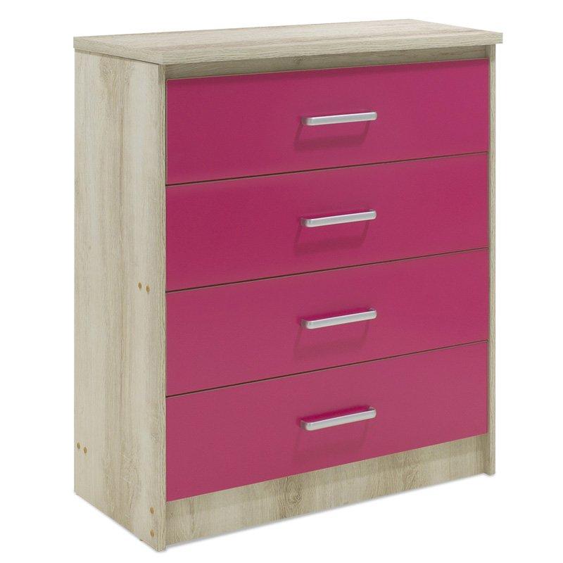 Συρταριέρα παιδική Looney pakoworld με 4 συρτάρια χρώμα castillo-ροζ 80x40x95εκ