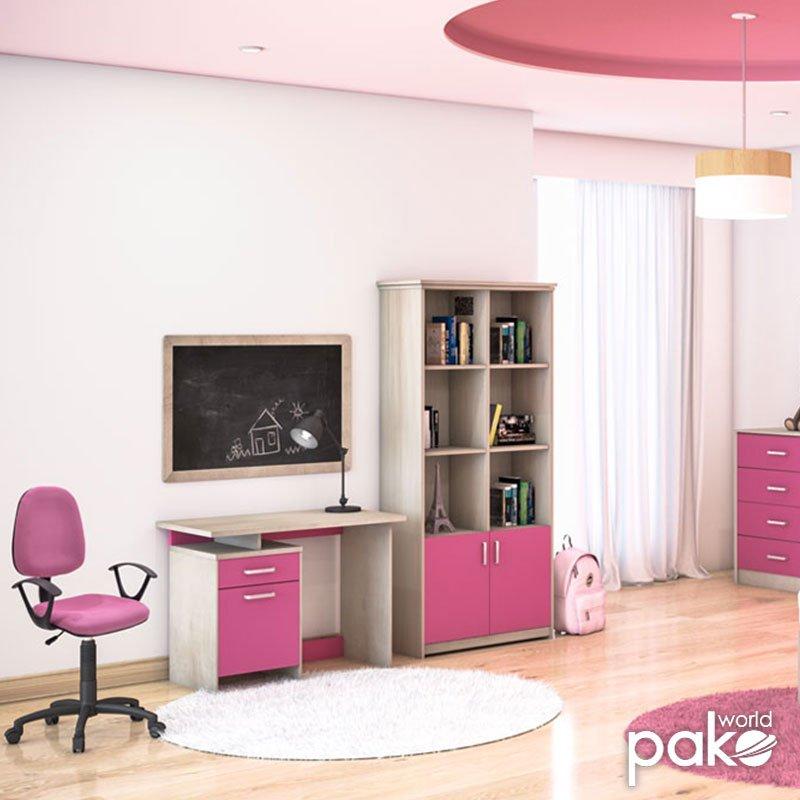 Γραφείο παιδικό Looney pakoworld χρώμα castillo-ροζ 100x55x75εκ