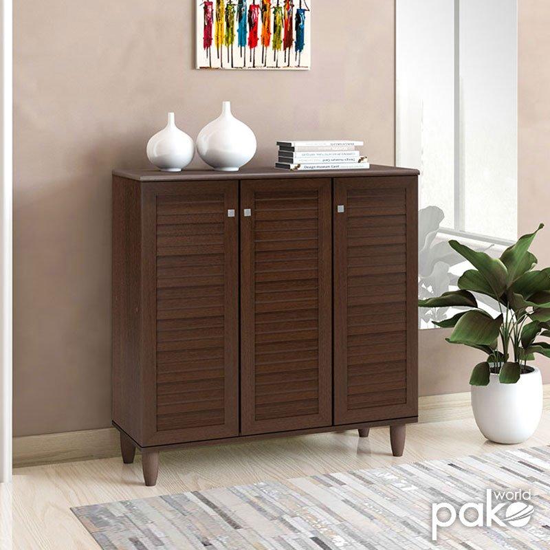 Παπουτσοθήκη-ντουλάπι SANTO pakoworld 16  ζεύγων χρώμα καρυδί 89,5x34,5x91,5εκ