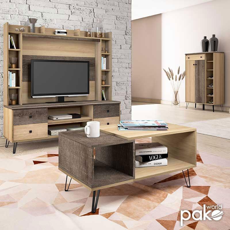 Τραπέζι σαλονιού Bruno pakoworld χρώμα viscount - toro 90x51x45εκ