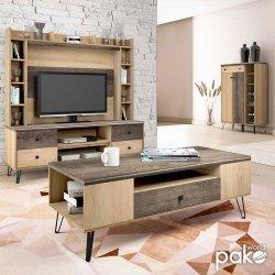 Τραπέζι σαλονιού Bruno pakoworld με συρτάρι χρώμα viscount - toro 119,5x51x42,5εκ