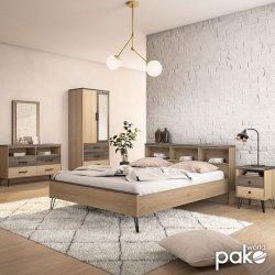 Κονσόλα - τουαλέτα με καθρέπτη Bruno pakoworld χρώμα viscount - toro 121x39,5x168,5εκ