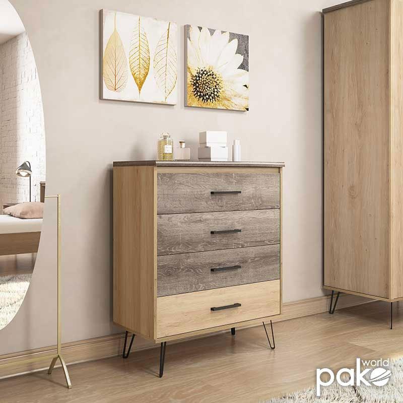 Συρταριέρα Bruno pakoworld με 4 συρτάρια χρώμα viscount - toro 80,5x40x99εκ