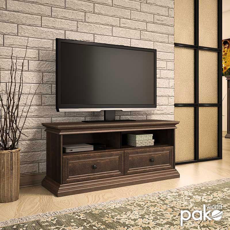 Έπιπλο τηλεόρασης Mozart pakoworld χρώμα καρυδί 121x40x51,5εκ