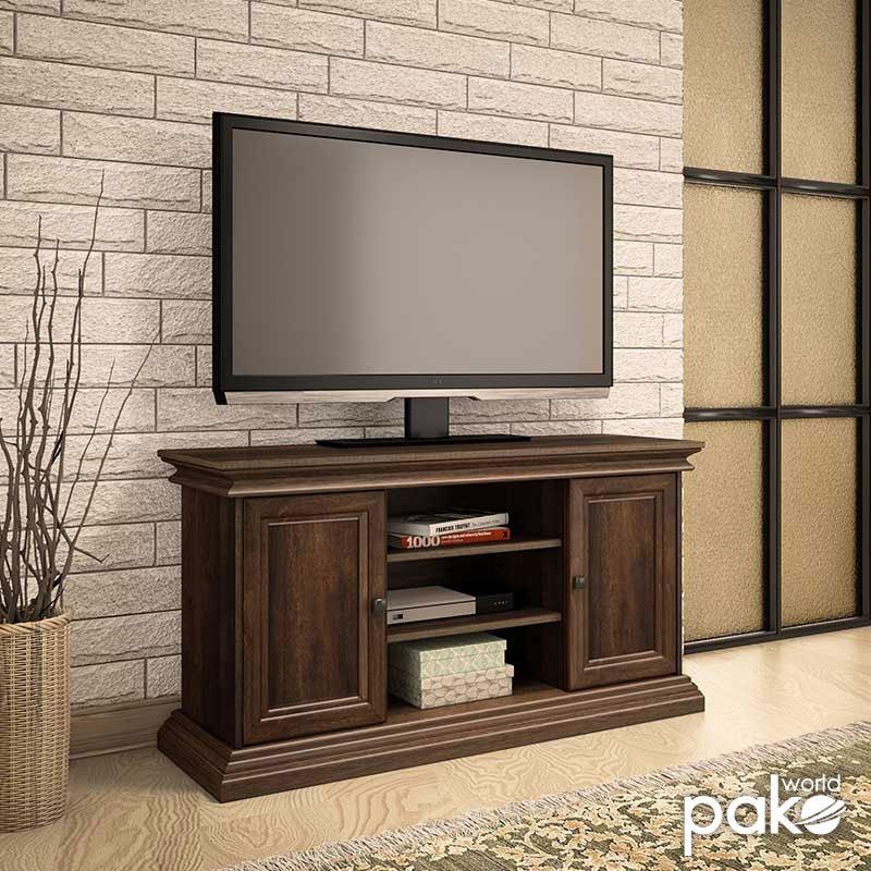 Έπιπλο τηλεόρασης Mozart pakoworld χρώμα καρυδί 121x40x65εκ