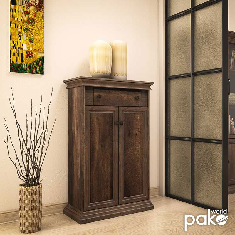 Παπουτσοθήκη-ντουλάπι Mozart pakoworld 18 ζεύγων χρώμα καρυδί 80,5x38x127εκ