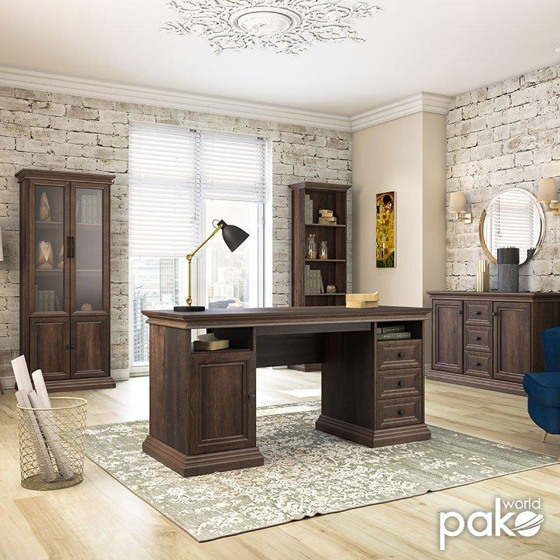 Γραφείο εργασίας Mozart pakoworld με συρτάρια χρώμα καρυδί 160x60x78εκ
