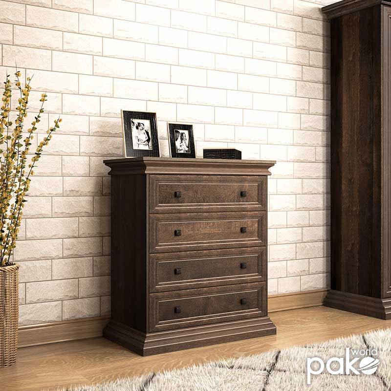 Συρταριέρα Mozart pakoworld με 4 συρτάρια χρώμα καρυδί 80x40x96εκ