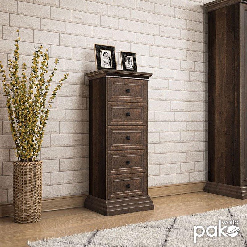 Συρταριέρα Mozart pakoworld με 5 συρτάρια χρώμα καρυδί 46,5x40x116εκ