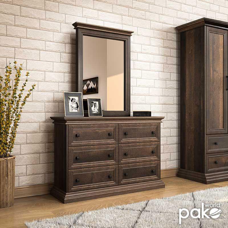 Τουαλέτα-συρταριέρα με καθρέπτη Mozart pakoworld χρώμα καρυδί 121x40x172εκ