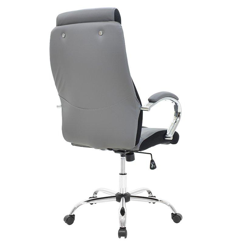 Καρέκλα γραφείου διευθυντή SHARK pakoworld τεχνόδερμα γκρι-μαύρο